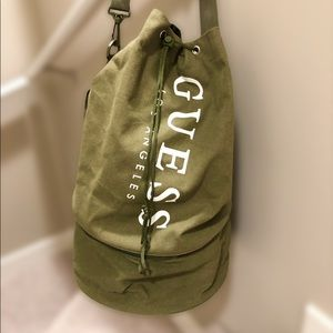 ◾️GUESS Men's Army Green Round Duffle Bag NWOT